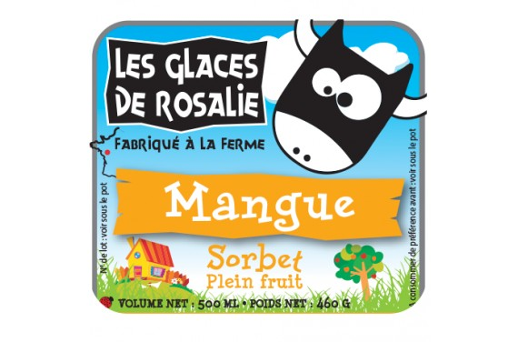 Sorbet mangue Sorbet plein fruit - les glaces de rosalie - 500ml