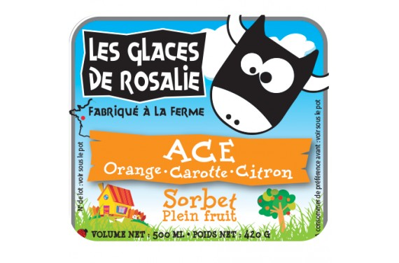 Sorbet Plein Fruit ACE orange carotte citron - les glaces de rosalie