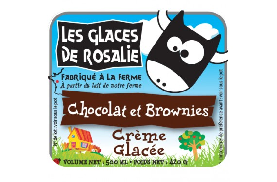 Glace Chocolat & brownies - les glaces de rosalie - 500ml